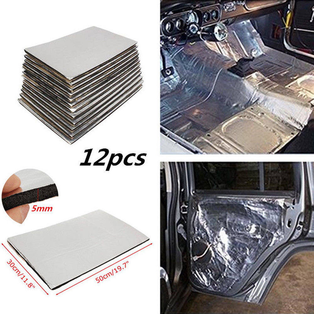 12pcs 5mm Car Firewall Sound Deadener Heat Insulation Mat Pads Door Hood Fiberglass Tri-layer Deadening & Thermal Insulation Pad