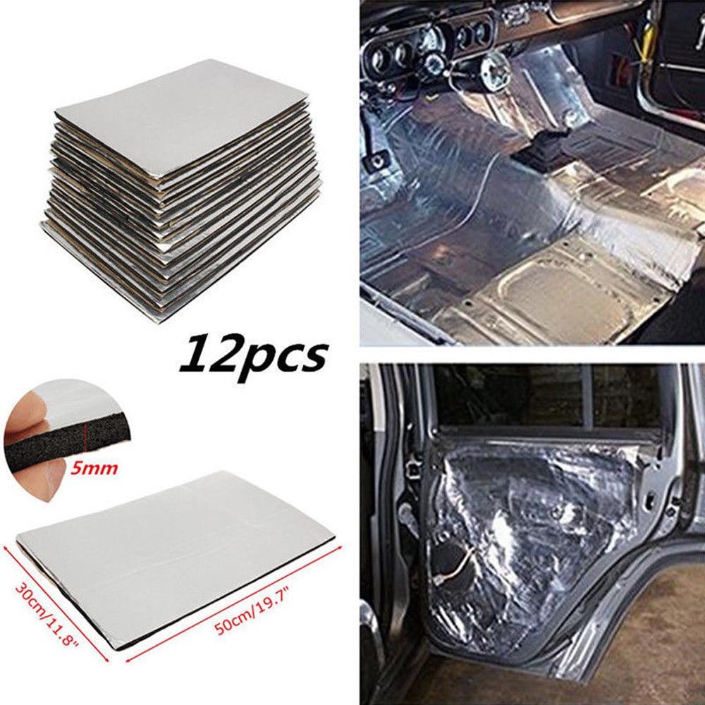 12pcs 5mm Car Firewall Sound Deadener Heat Insulation Mat Pads Door Hood Fiberglass Tri-layer Deadening & Thermal insulation Pad Building insulation