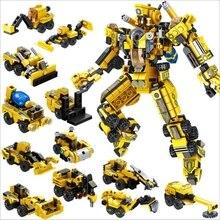 12 в 1 серии трансформации робот пожарный двигатель DIY строительные блоки комплект игрушки Дети лучший рождественский подарок