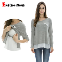 Emotion Moms Maternity Clothes Long sleeve Maternity tops Nursing Top pregnancy Clothes for Pregnant Women breastfeeding T shirt