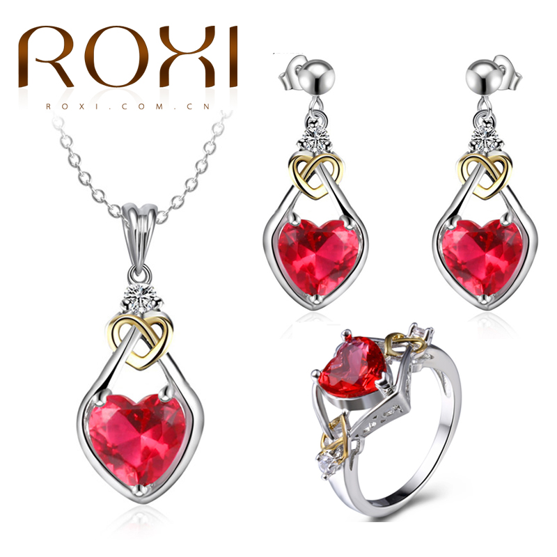 2018 ROXI Red Heart Jewelry Set for Women White Gold Pendant Necklace Drop Earring Rings Charm Jewelry Valentine's Gift of Love yoursfs fashion jewelry women s necklace with heart pendant white gold plated crystal engraved mom for women gift