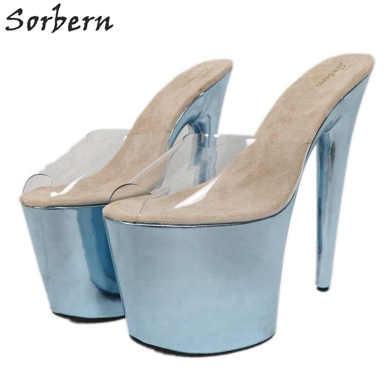 Sorbern 20Cm Extreme High Heel Slippers Women Slip On Metallic Slides Transparent Pvc Open Toe Summer Shoes Custom Colors - 4