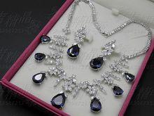 2017 NEW FASHION Luxury blue zircon necklace earring set wedding bride formal dinner dress banquet popular women`s jewelry set