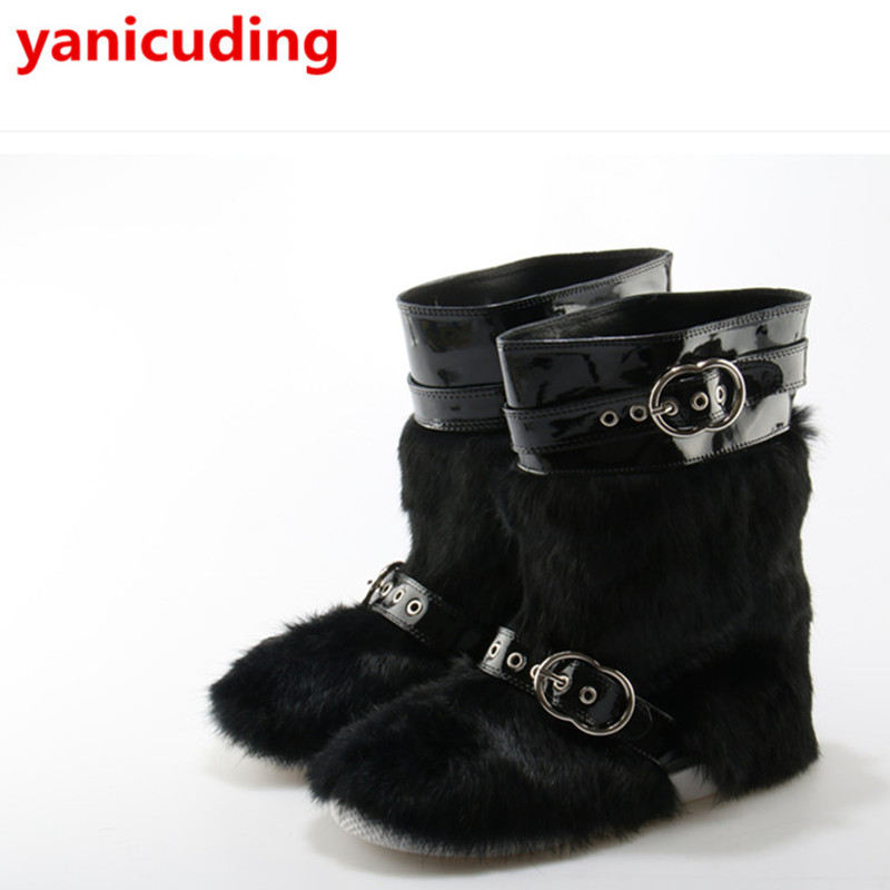 Luxury Brand Short Booties Colorful Fur Decor Women Snow Boots Buckle Design Super Star Runway Stage Winter Warm Leather Shoes black leather women short booties luxury brand metal buckle design sock boots super star runway shoes low heel chaussures femmes