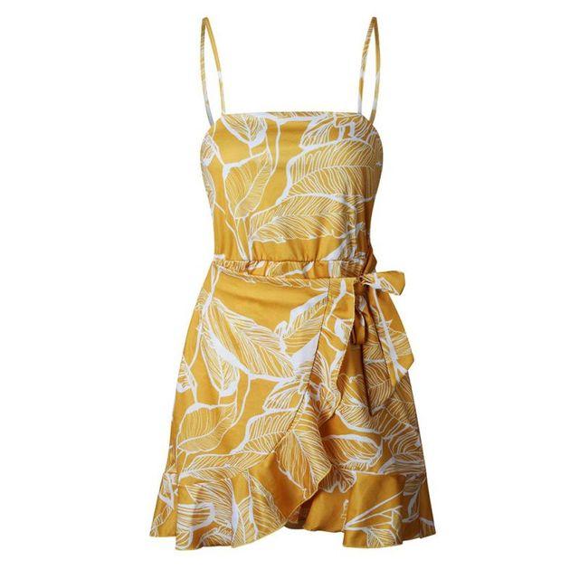 Bohemian Beach Dress Women Summer Sexy Spaghetti Strap Backless Dresses Floral Dot Print Bodycon Dress Ruffle Short Dresses