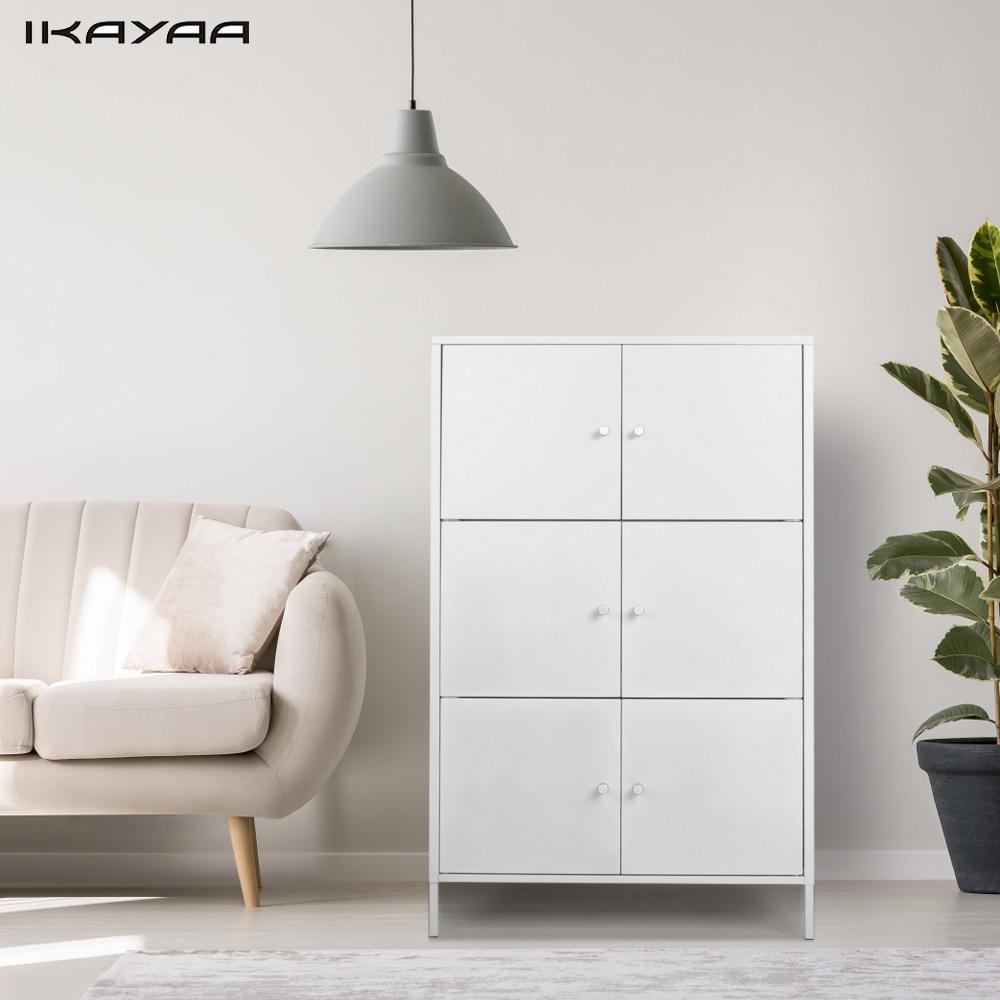 IKayaa Modern 6 Door Cabinet Metal Storage Cabinets Locker For Bedroom Bathroom  Furniture Home Decoration Storage Cabinets US
