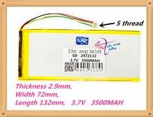 5 filo 2972132 3.7 V 3500 MAH batteria ai polimeri di litio 3500 mah e 9 pollici tablet batterie del volume di grandi dimensioni sottile