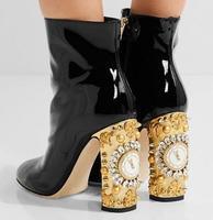 Real photo Luxe diamond klok crystal chunky hoge hak vrouw enkellaarsjes klok hak korte laarzen