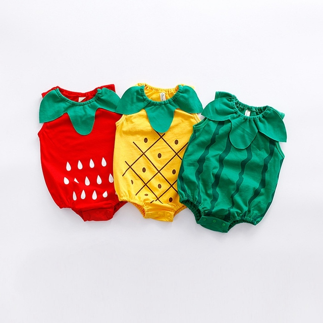 c450e5017c2d Summer Sleeveless Baby Bodysuit Fruit Shaped Baby Clothes Infant Boy ...