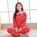 L-5XL Плюс Размер Осень Зима женская Пижама Для Взрослых Мода Кардиган Пижамы Женщин Чистого Хлопка Печати Ночная Рубашка Пижамы Установить