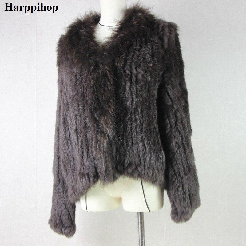 Harppihop кроличий мех Натуральная вязаное пальто для Для женщин енота меховым воротником куртка Тренч Верхняя одежда уличная мода вечерние ...