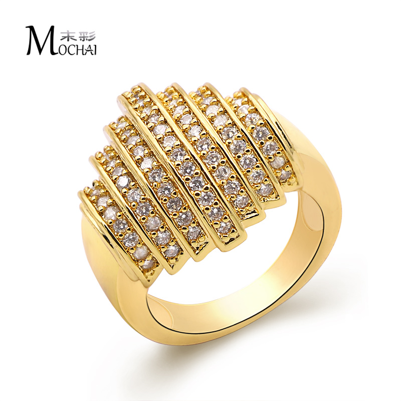 Hot sale Gold-color Round Vintage Fashion Big Ring For Women Luxury Geometric Jewelry wholesale ZK20