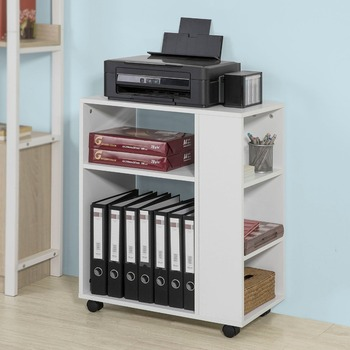 Side Printer Shelf Table 3 Tiers Storage Shelf on Wheels Desk Bookcase  Living Room Furniture , SoBuy FBT68-W