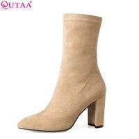 QUTAA 2018 Women Mid Calf Boots Square High Heel Pointed Toe Genuine Leather Zipper Yellow Women