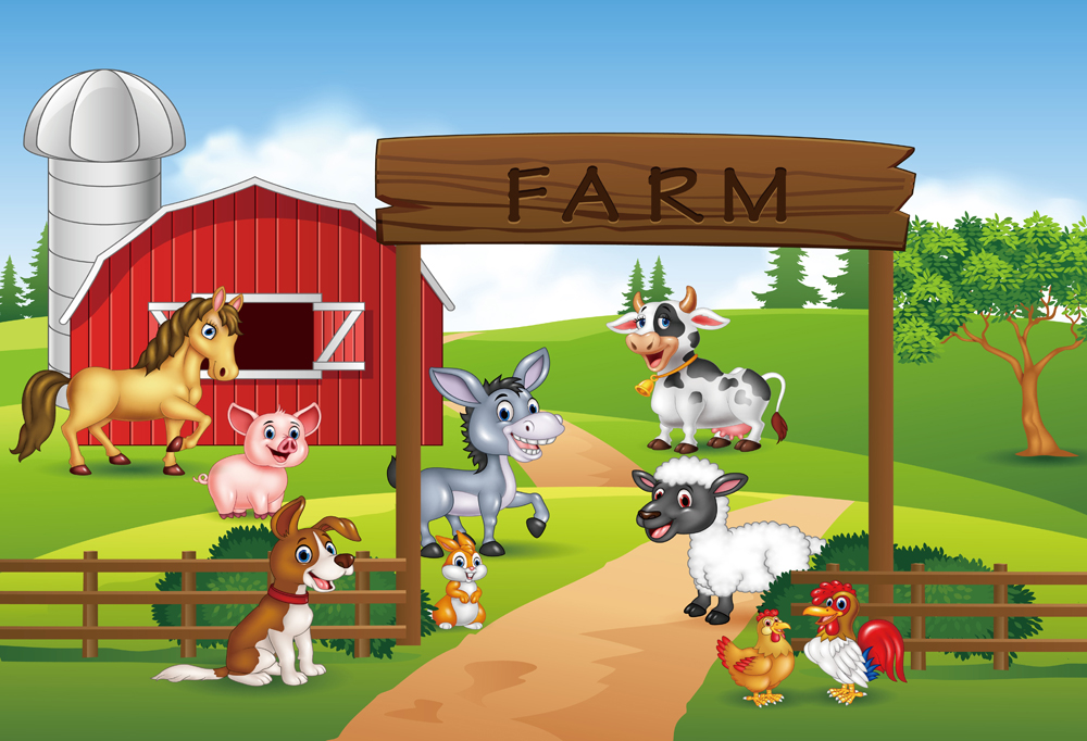 Farm Theme Photography Backdrop Red Barn Animals Barnyard