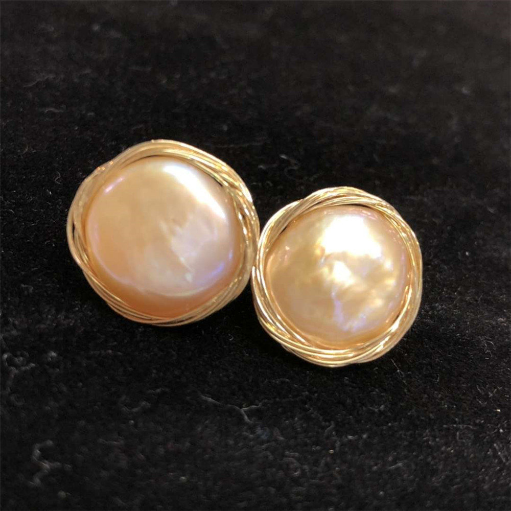 hand made gemstone fine jewelry factory wholesale elegant ladies 14k gold wrap natural white pearl stud earring for female 1