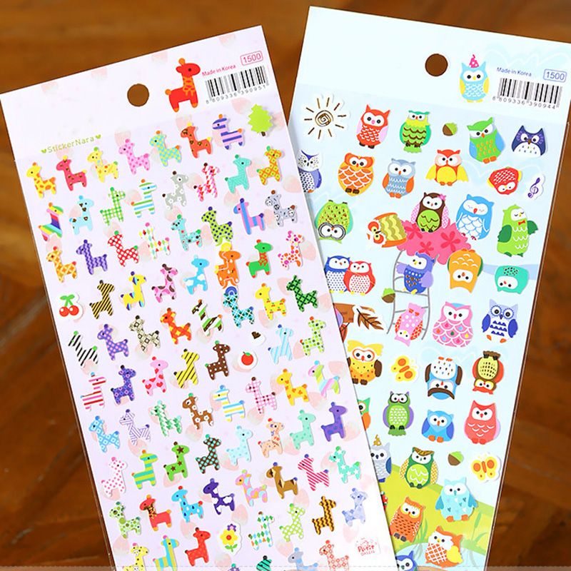Cartoon Animal Sticker Toy Owl Giraffe Print Kids Toy Sticker Cute Diary Book Scrapbooking Calendar Album Deco Sticker 1 Sheet
