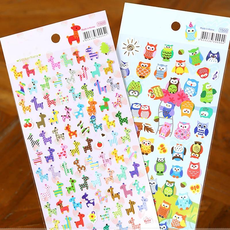 Cartoon Animal Sticker Toy Owl Giraffe Print Kids Toy Sticker Cute Diary Book Scrapbooking Calendar Album Deco Sticker 1 Sheet
