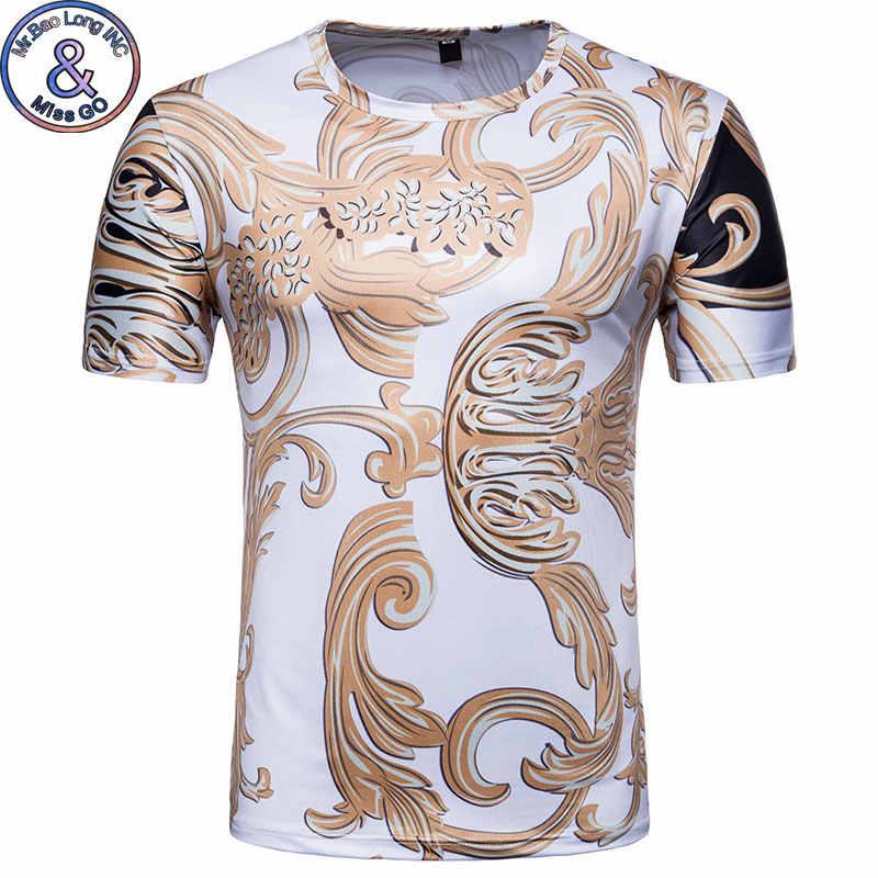 Роскошная брендовая мужская 3D футболка с золотым цветочным принтом 2018, модная футболка в стиле барокко с коротким рукавом, Повседневная Уличная одежда в стиле хип-хоп