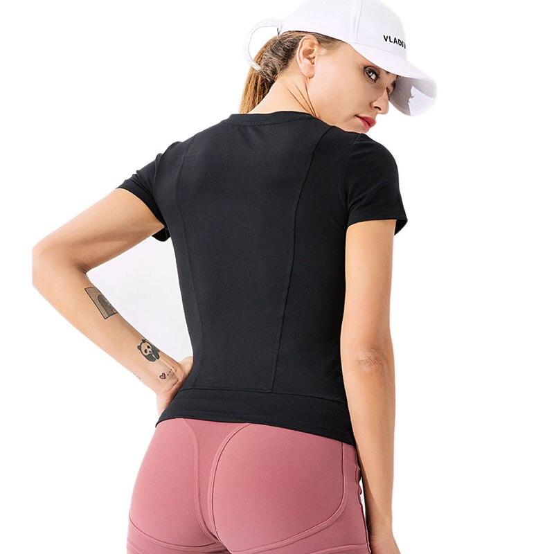 @1  Женская однотонная футболка для бега с короткими рукавами  быстросохнущая  удобная  спортивная  спор ①