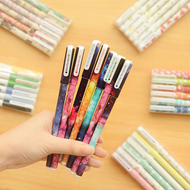 6 Pcs Superhero Hero Alliance Starry Sky Pattern Cute Flower Bear Cat Color Gel Pen for School Office Writing Stationery Escolar 6 pcs set color gel pen starry pattern cute kitty hero roller ball pens stationery office school supplies