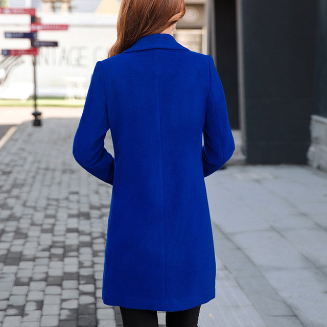 Winter Slim Large size Women Woolen Jacket 2020 New Casual Medium long Solid color Long sleeve Women Woolen Jacket S-4XL SES772 5