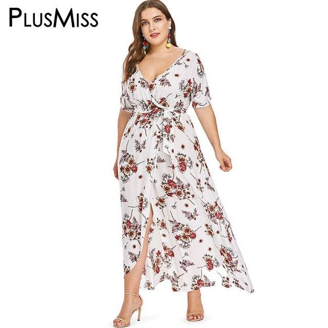 8129f4ab4b9 PlusMiss Plus Size 5XL XXXL Floral Flower Print Wrap Maxi Long Chiffon Dress  Women Summer 2018 Loose Beach Boho Dresses Big Size