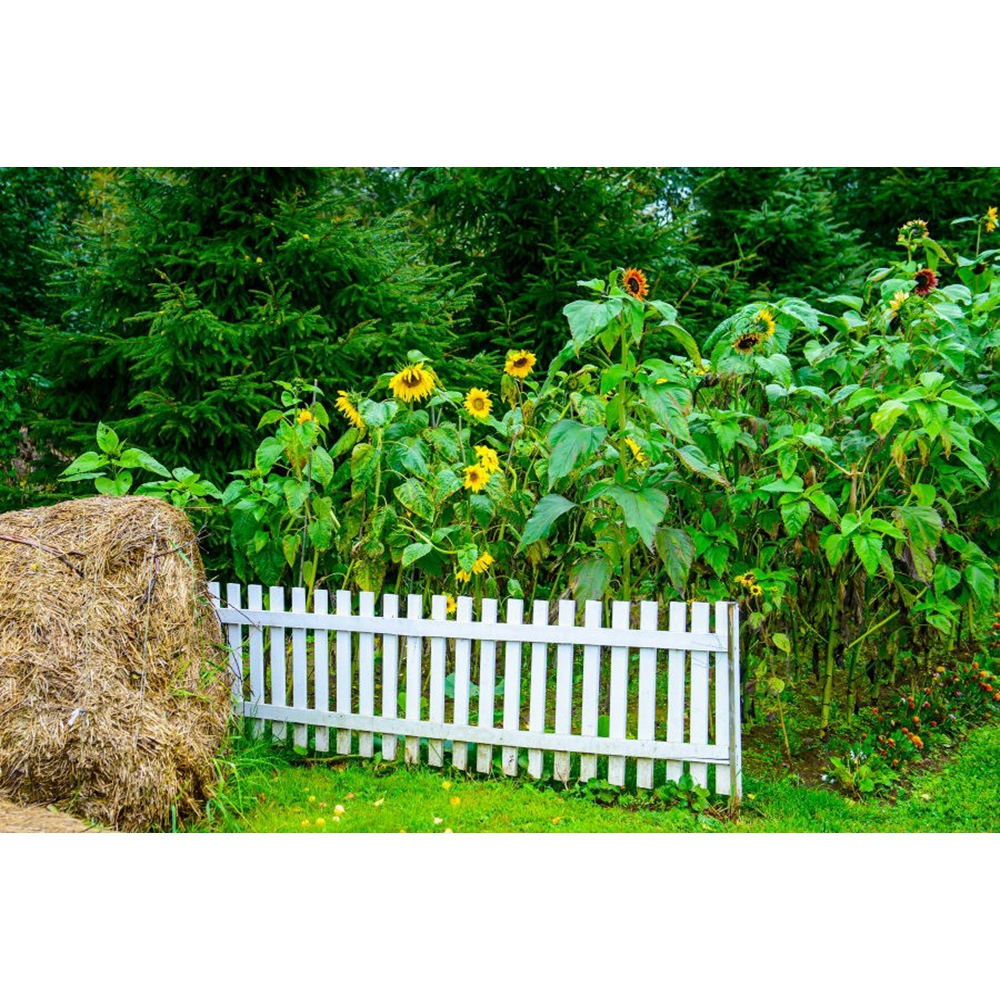 Yeele Photography Backdrops Garden Fence Sun Flower Hay Stack Baby Portrait Photographic Backgrounds Floral For the Photo Studio