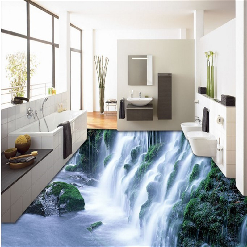 Architect 3d Garden And Exterior 20: Beibehang Custom Flooring 3D Outdoor Magnificent Waterfall