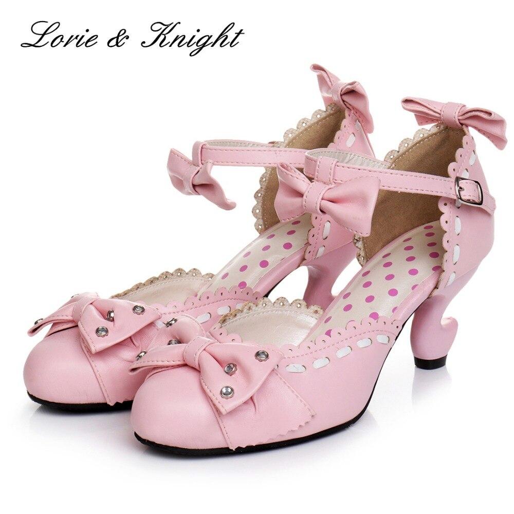 c977b7c19c6b Japanese Sweet Lolita Rhinestone Bow Ankle Strap Princess High Heels  Sandals Dress Pumps