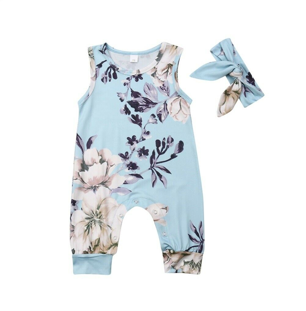 0-24 M Nette Neugeborene Baby Mädchen Ärmellose Floral Body Overall Overall Stirnband 2 Pcs Outfits Sommer Kleidung