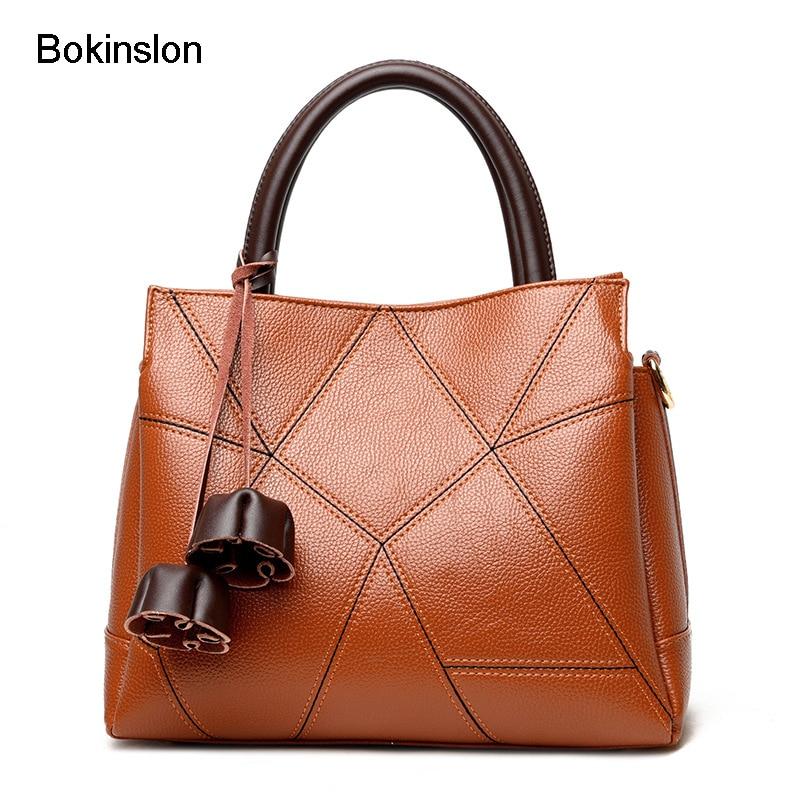 Bokinslon Bags For Women Fashion Popular Shoulder Bags Ladies Stitching PU Leather Woman Crossbody Bag dark green stitching design crossbody bags