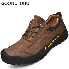 2019 new fashion men's shoes casual genuine leather cow lace up shoe man khaki brown black breathable comfortable shoes for men high quality mens basic shoe 2017 fashion for men casual shoes breathable genuine cow leather man elastic man brand shoes