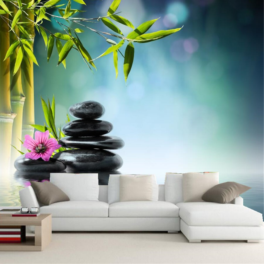 Custom 3d large murals wallpaper,Stones Bambusoideae Spa wallpapers,living room tv background sofa wall bedroom papel de parede custom large murals 3d cartoon panda papel de parede living room sofa tv background children bedroom wallpaper for walls 3 d