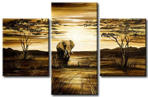 Handpainted 3 Piece Modern Abstract Landscape Canvas Wall Art Oil Paintings African Elephant Picture For Living Room