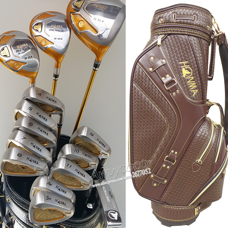 New Golf Clubs Honma S-03 4 star complete clubs set Golf Drive+wood+irons+putter+bag Graphite shaft golf headcover Free shipping