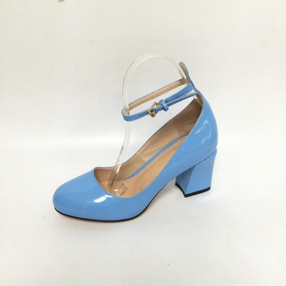 Roller pump shoes - Blue Round Toe Pumps Square Med Heels Faux Patent Leather Women Pump Designer Shoes Women Luxury