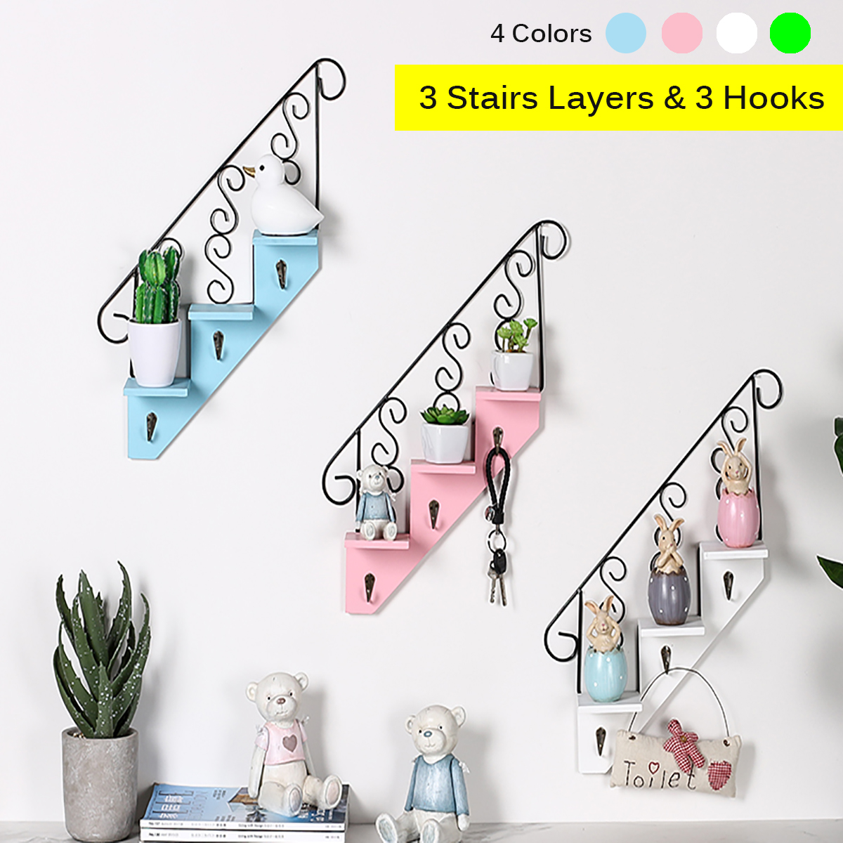 Iron Metal Wood Wall Shelf Stair Shaped Holder Storage Rack Home Office  Decor 3 Stairs Layers Decorate Room 3 Hooks For Storage In Storage Holders  U0026 Racks ...