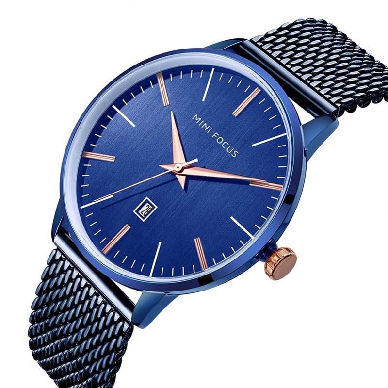 Top Luxury brand MINI FOCUS Watches men Stainless Steel Mesh strap Quartz-watch Ultra Thin Dial Clock man relogio masculino