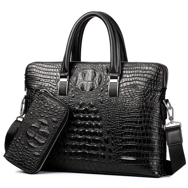 2019 Fashion Genuine Leather Men Bag Alligator Crossbody Bags Famous Brand Portfolio Laptop Bag Office Handbag
