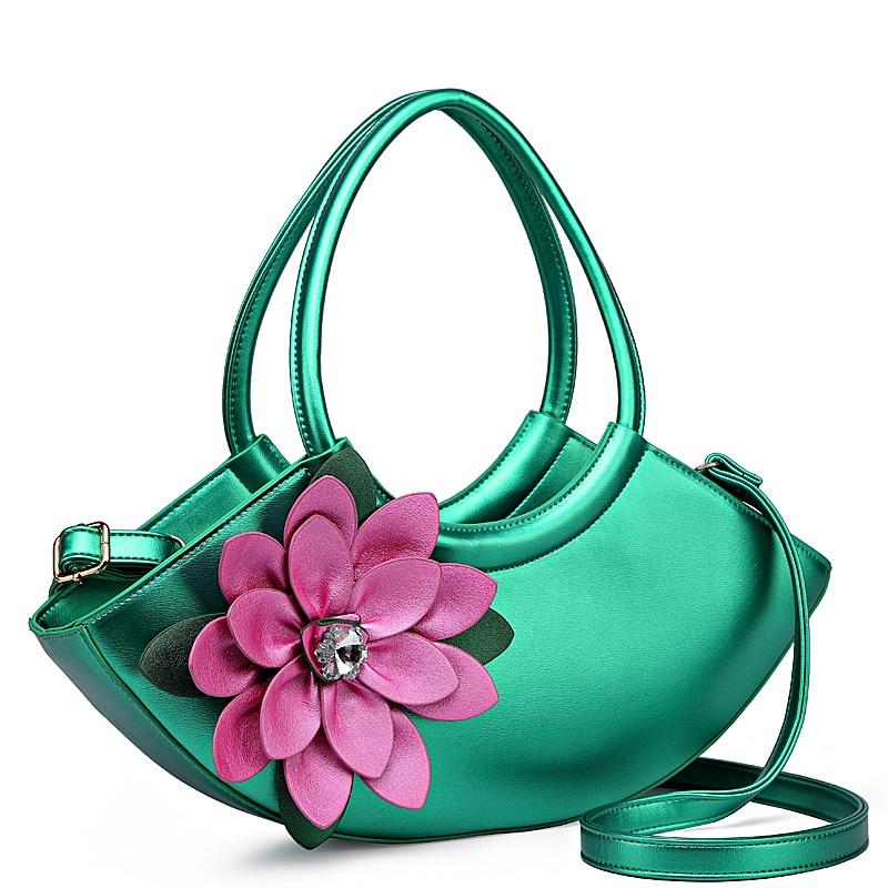 Fresh Half Moon Flower Bag For Women Luxury Leather Evening Handbag Bolsas Feminina Lady Green Tote Bag Floral Shoulder Bags-in Top-Handle Bags from Luggage & Bags    1