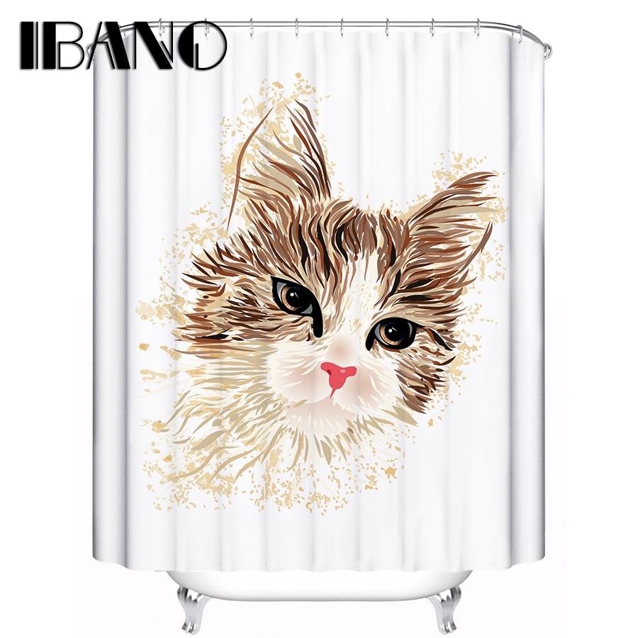 Lucky cat family Girl Cute Animal Custom Shower Curtain Bathroom Decor 180x180Cm Free Shipping
