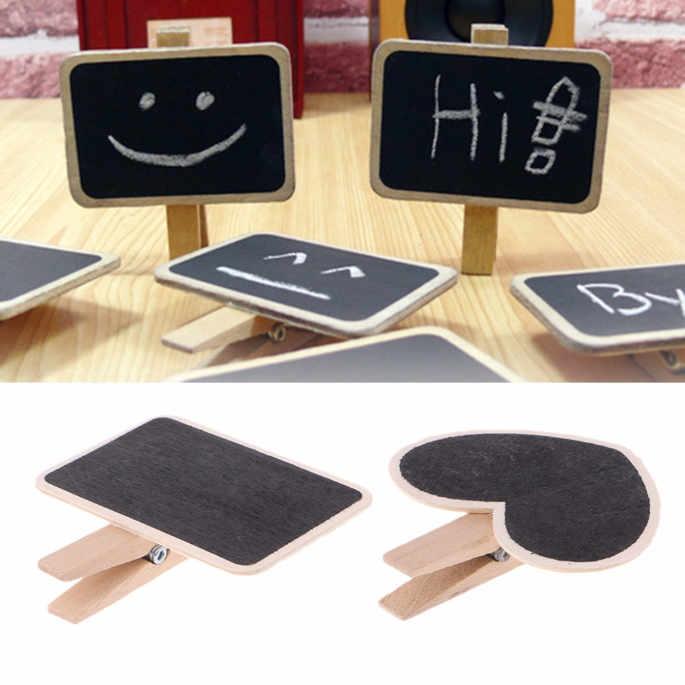 2018 NEW Mini Wooden Chalkboard Sign Clip Handle Blackboard Message Board Table Number