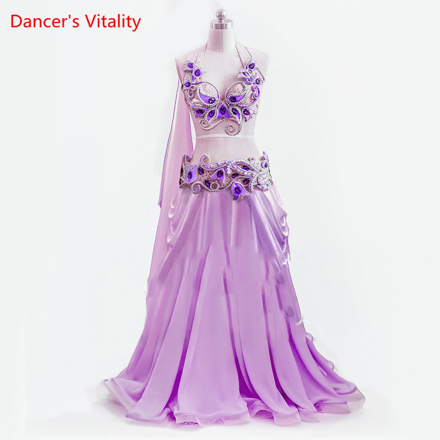 Women Stage & Dance Wear 2018 Oriental Dance Diamonds Bra& Belt&Skirt Bellydance Suit 3pcs Costumes for Belly Dance