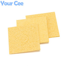 10 pcs 6*6CM Yellow High Temperature Resistant Heatstable Soldering Iron Solder Tip Welding Cleaning Sponge Remove Tin