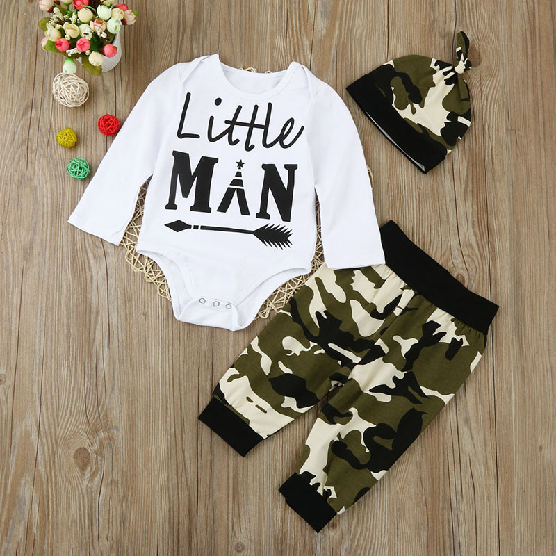 3pcs Newborn Infant Baby Boys Clothes Long Sleeve White Bodysuit Tops+Camouflage Pants+Hat Toddler Outfit Set 2018 New Arrival 3pcs set newborn infant baby boy girl clothes 2017 summer short sleeve leopard floral romper bodysuit headband shoes outfits