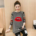 2016 spring autumn maternity clothes Lips embroidered long-sleeved  T-shirt baggy pregnant women to wear tees free shipping