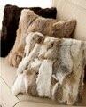 FRETE GRÁTIS CX-D-17A Patchwork Cor Natural Coelho Fur Sofá Capa de Almofada/Travesseiro De Pele decoração coussin