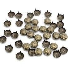 Lucia artesanato 50 pçs/100 pçs 6*11mm rebites de vestuário do vintage caber sacos sapatos redondo flor punk diy rebites bronze tom g0523