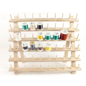 Image 5 - Foldable Wood Thread Stand Rack Holds Organizer Wall Mount 60 Spool Cone Embroidery Machine Sewing Storage Holder